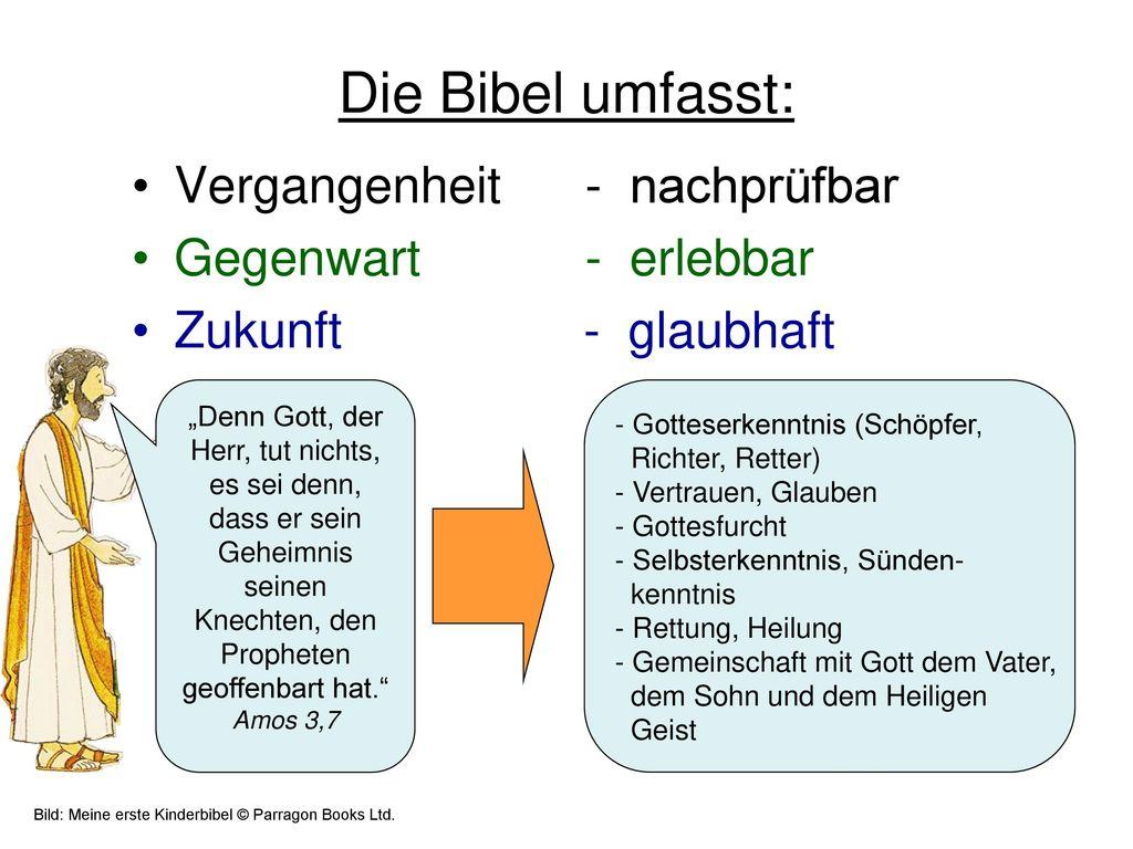 Die Bibel umfasst: Vergangenheit - nachprüfbar Gegenwart - erlebbar