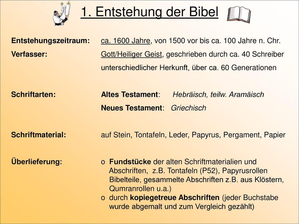 1. Entstehung der Bibel Entstehungszeitraum: ca. 1600 Jahre, von 1500 vor bis ca. 100 Jahre n. Chr.