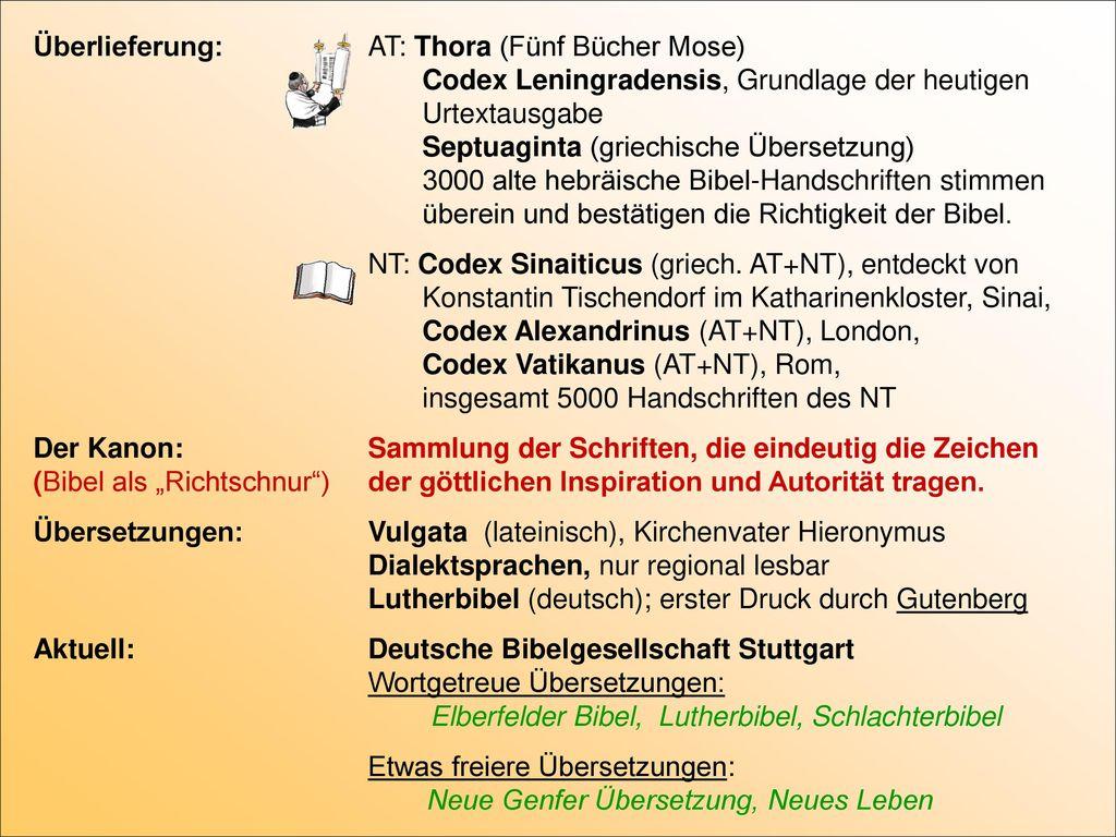 Überlieferung:. AT: Thora (Fünf Bücher Mose)