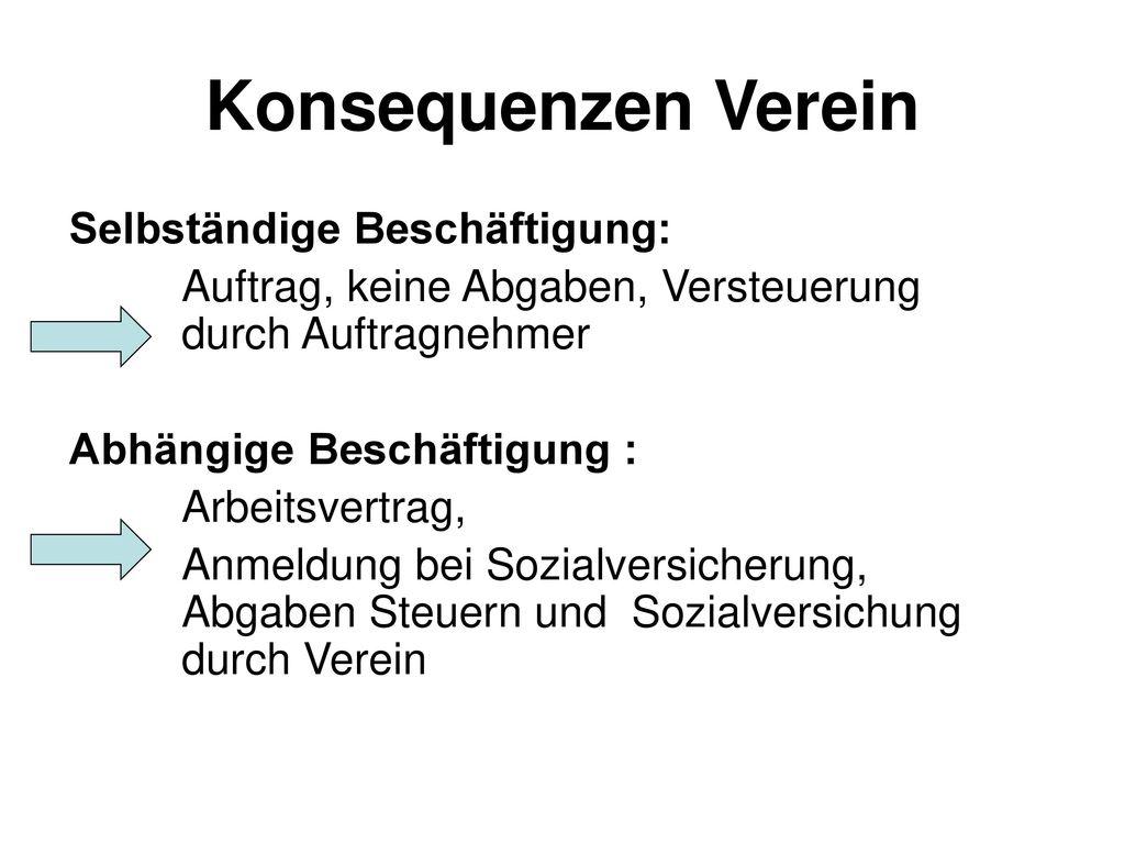 Konsequenzen Verein Selbständige Beschäftigung: