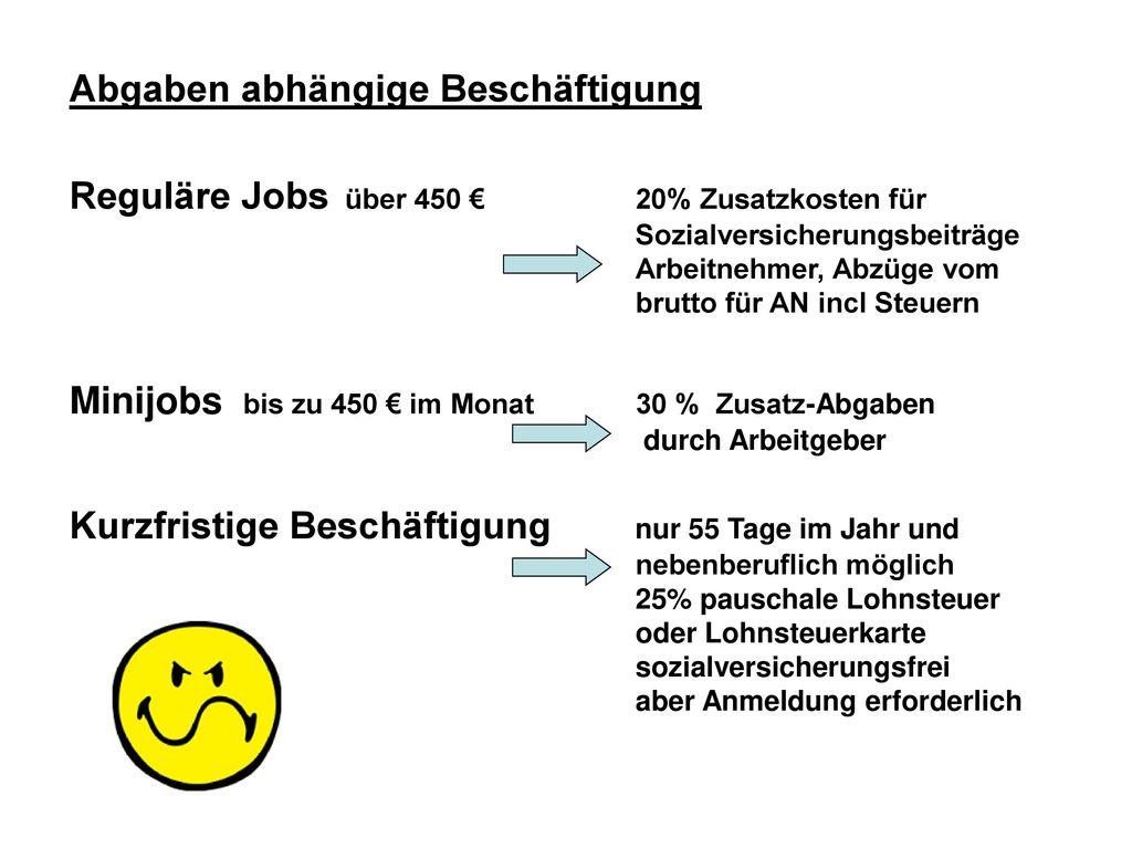 Abgaben abhängige Beschäftigung