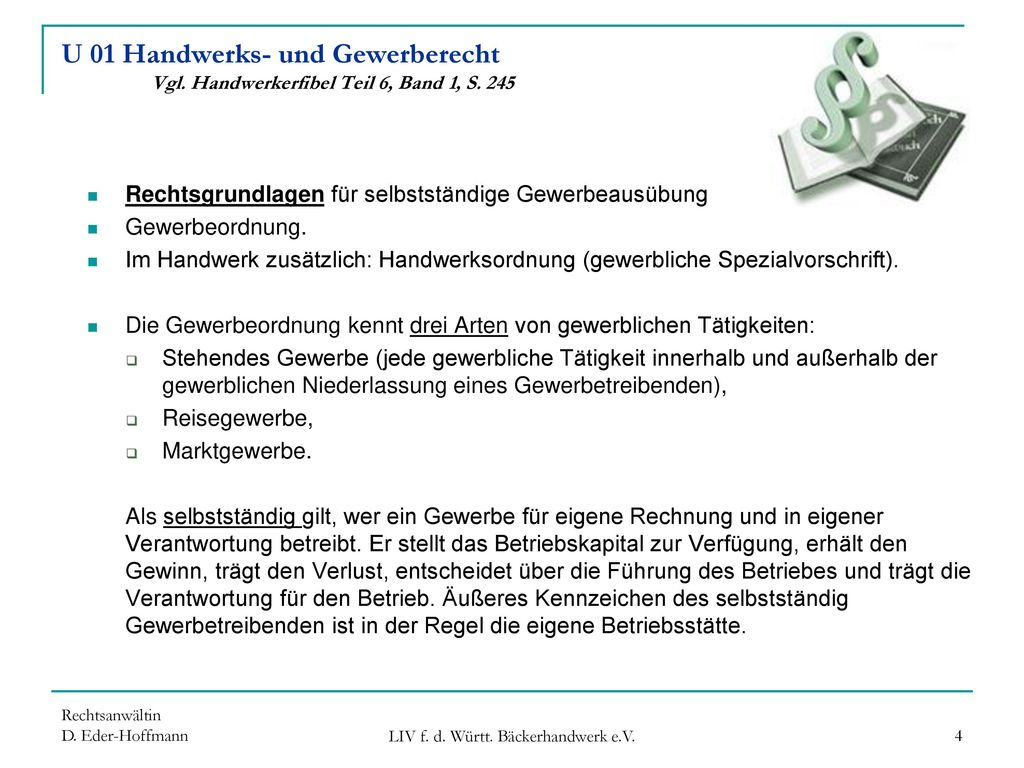 Handwerks- und Gewerberecht - ppt herunterladen