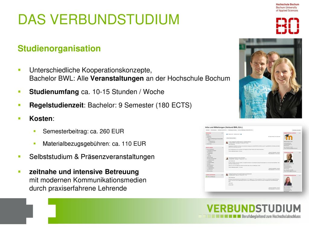 DAS VERBUNDSTUDIUM Studienorganisation