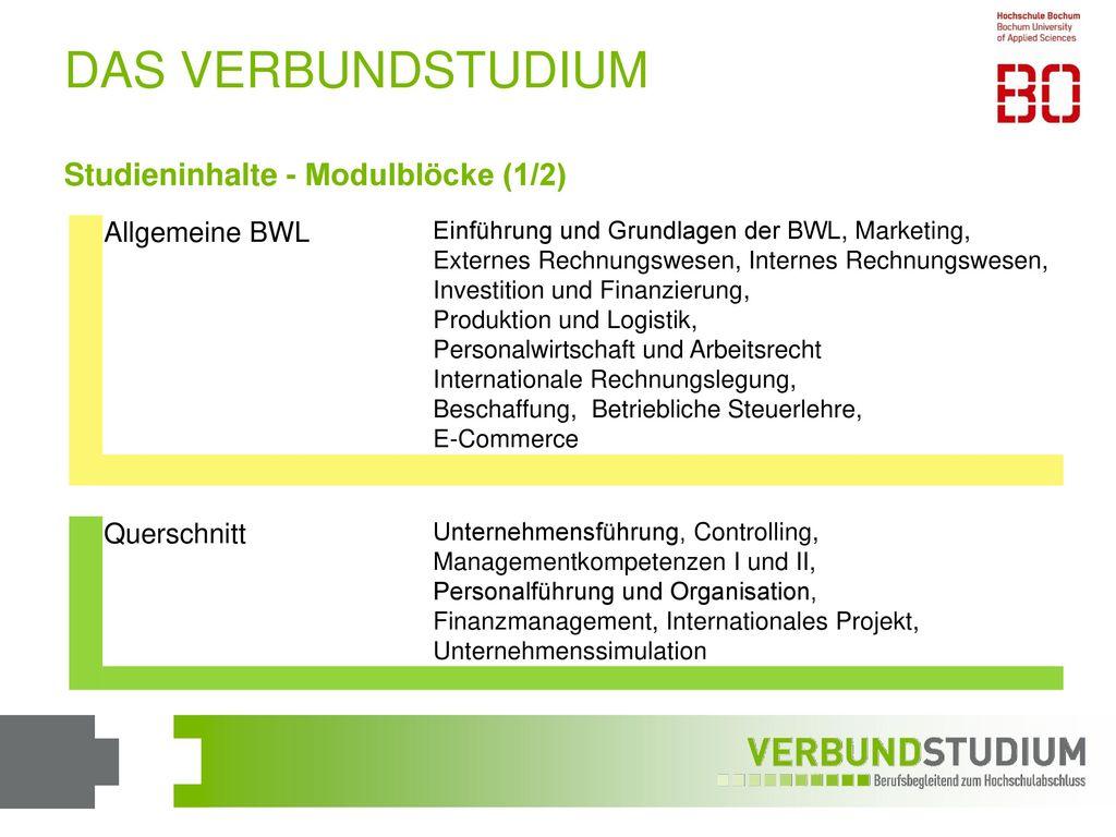 DAS VERBUNDSTUDIUM Studieninhalte - Modulblöcke (1/2) Allgemeine BWL