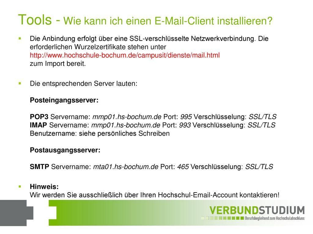 Tools - Wie kann ich einen E-Mail-Client installieren