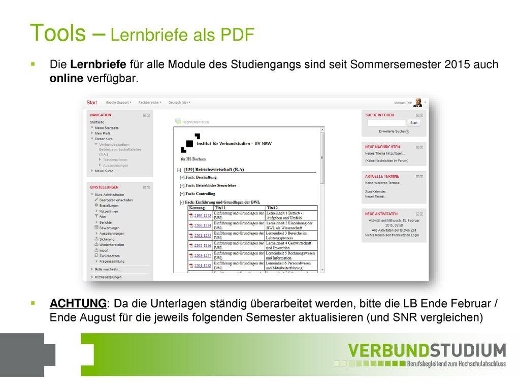 Tools – Lernbriefe als PDF