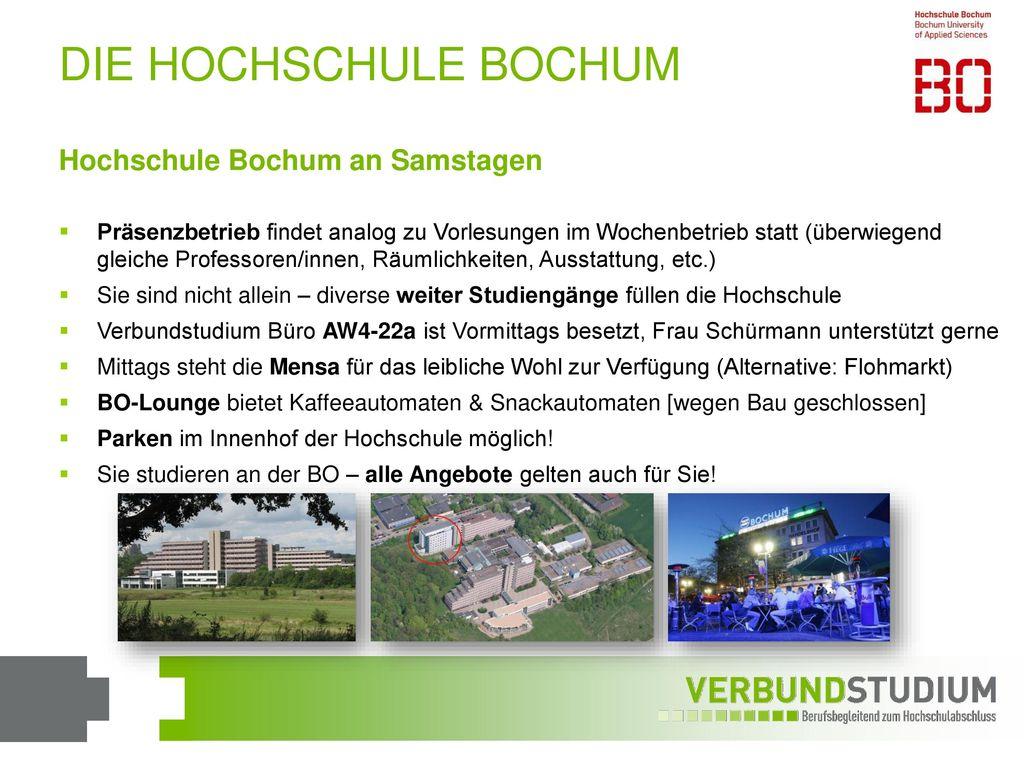 DIE HOCHSCHULE BOCHUM Hochschule Bochum an Samstagen