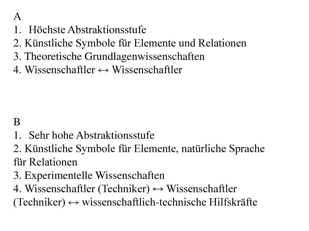 A Höchste Abstraktionsstufe. 2. Künstliche Symbole für Elemente und Relationen. 3. Theoretische Grundlagenwissenschaften.