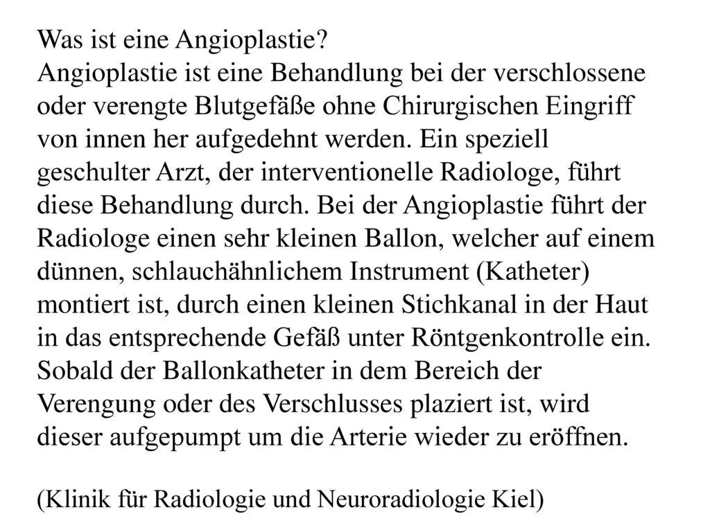 Was ist eine Angioplastie