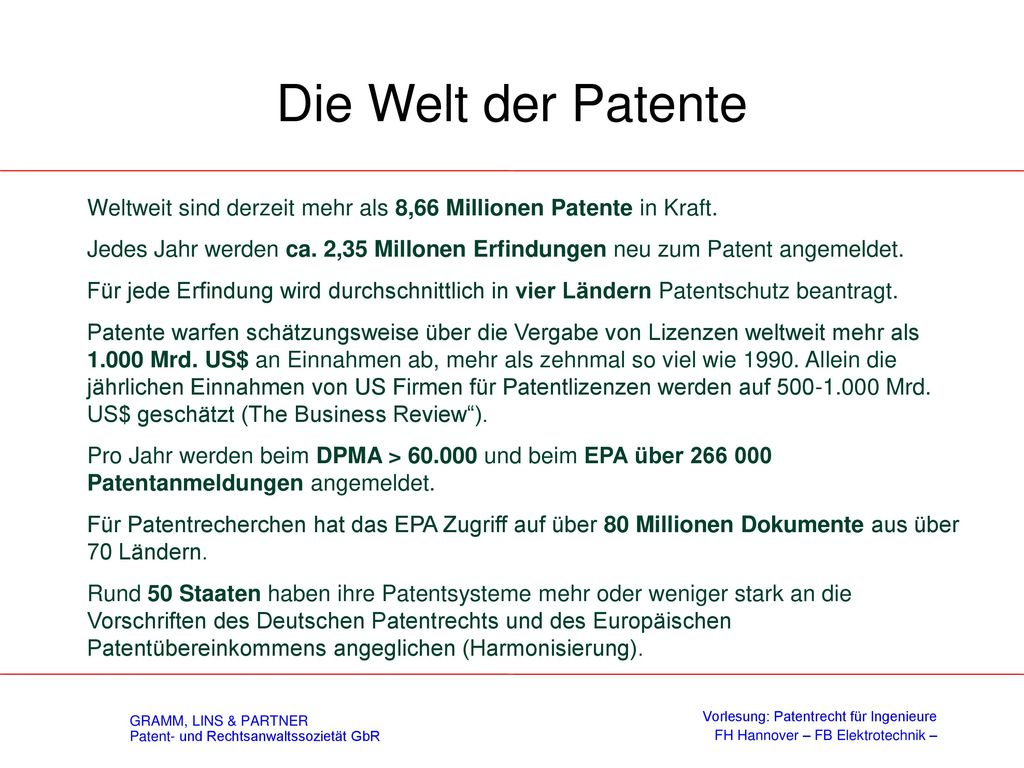 Die Welt der Patente Weltweit sind derzeit mehr als 8,66 Millionen Patente in Kraft.
