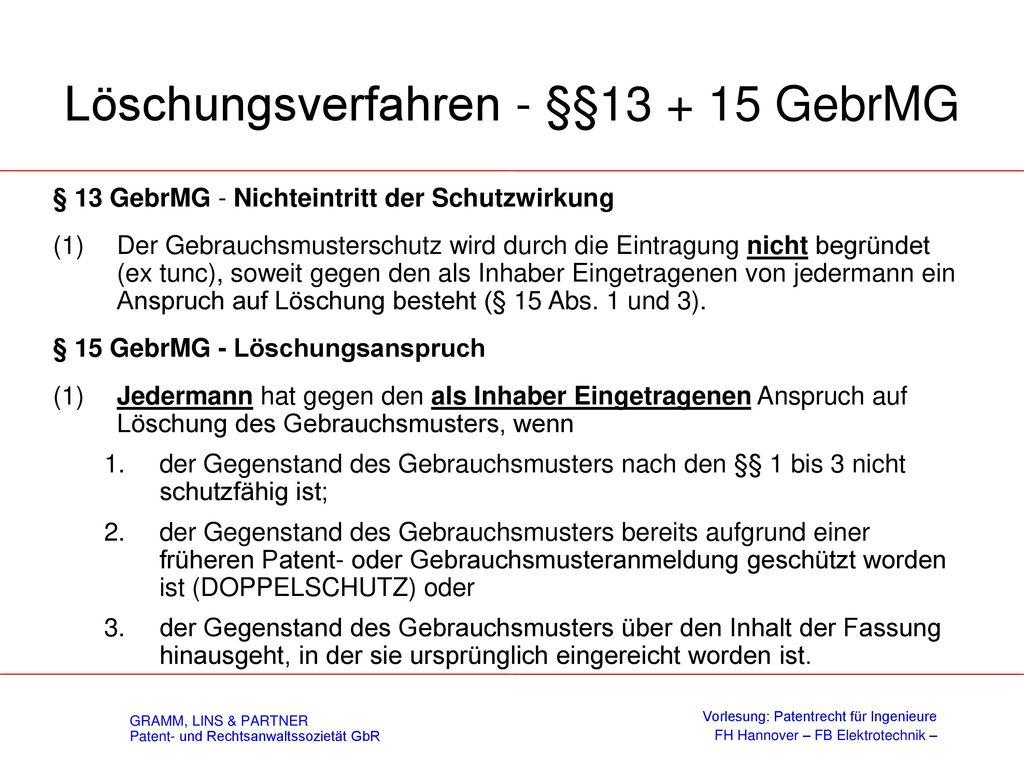 Gebrauchsmusterabzweigung - § 5 GebrMG