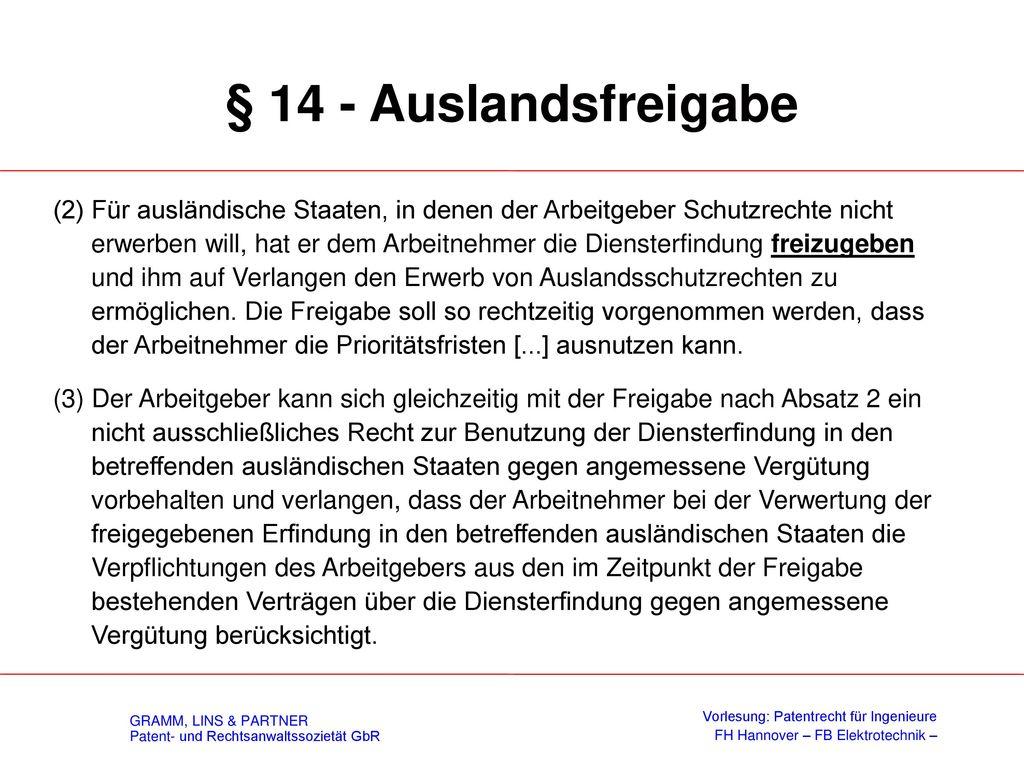 § 16 – Schutzrechtsaufgabe