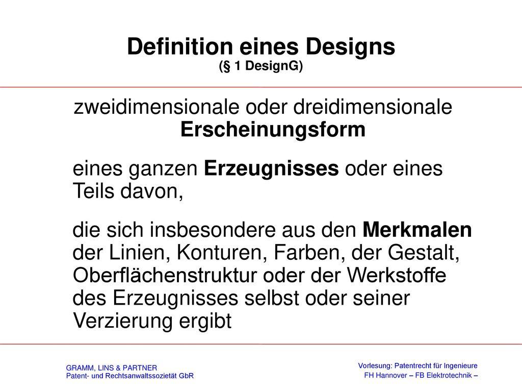 V. Einblick in das Designrecht