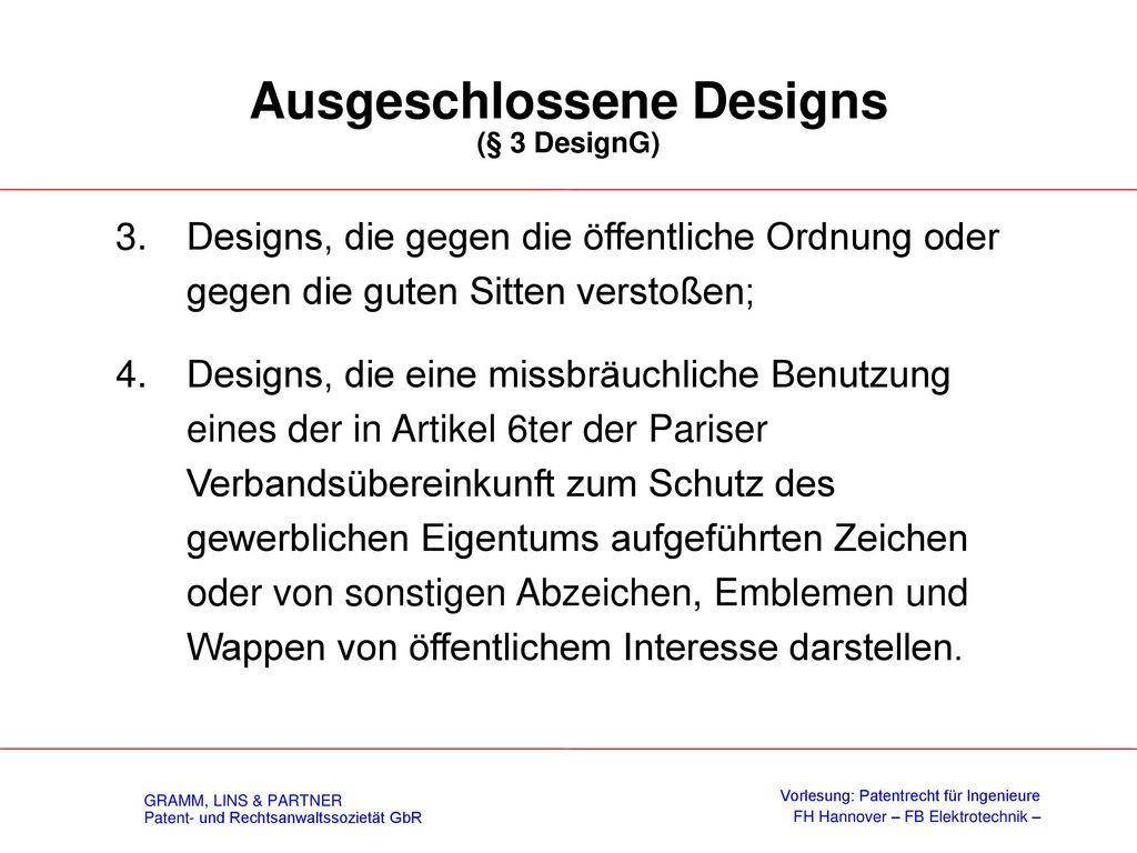 Ausgeschlossene Designs (§ 3 DesignG)