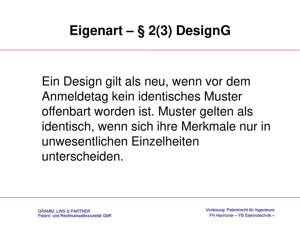 Bauelemente komplexer Erzeugnisse (§ 4 DesignG)