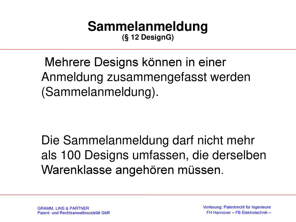 Anmeldeerfordernisse (§ 11 DesignG)