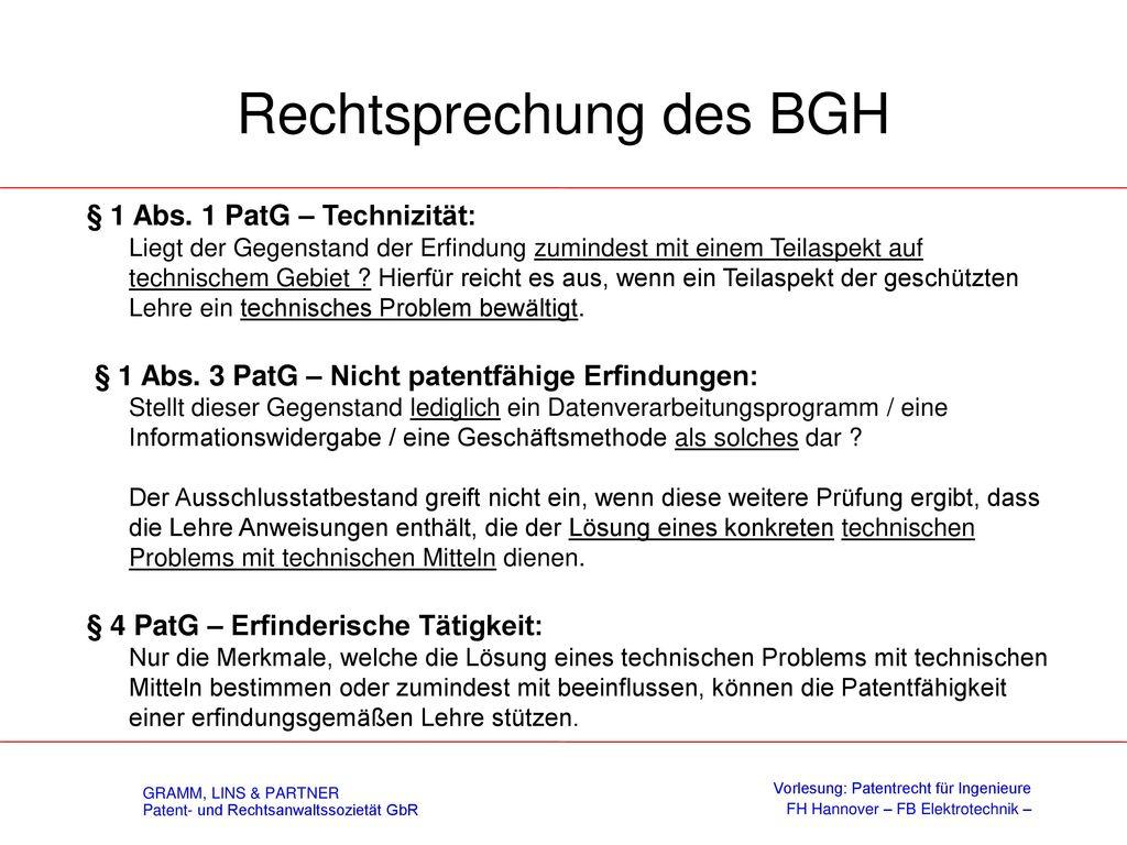 Software - Patente BGH: Prägendes notwendiges technisches Merkmal