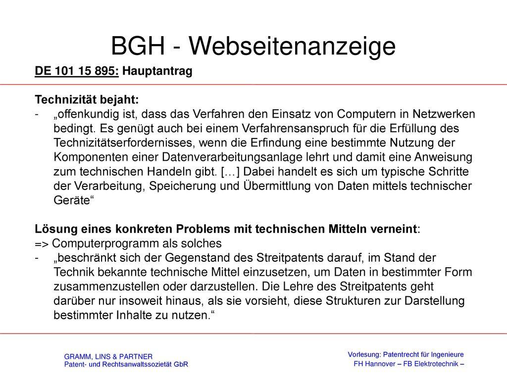 BGH - Webseitenanzeige