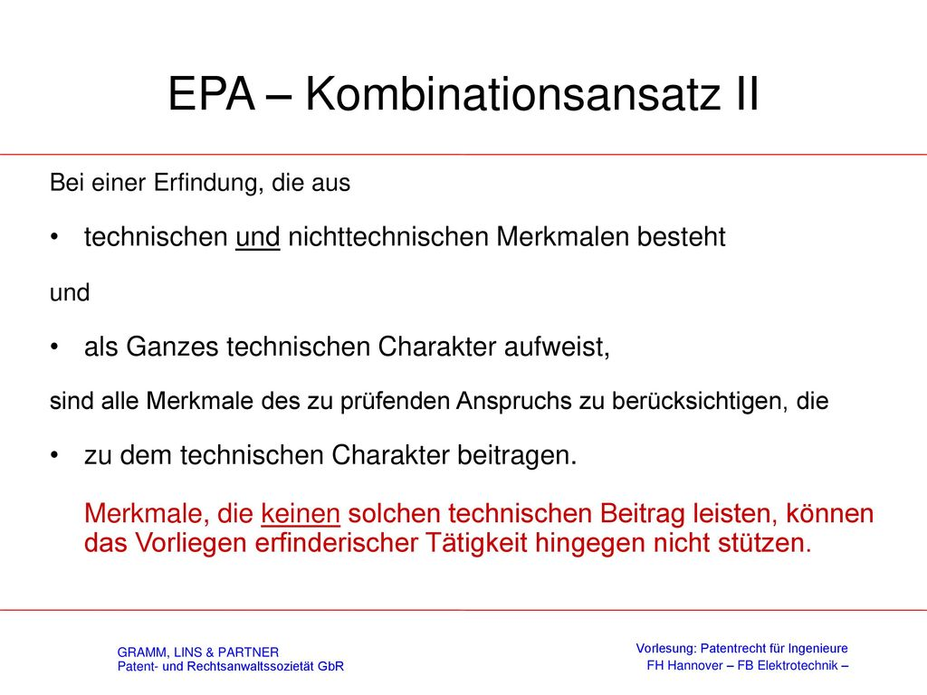 EPA – Kombinationsansatz I