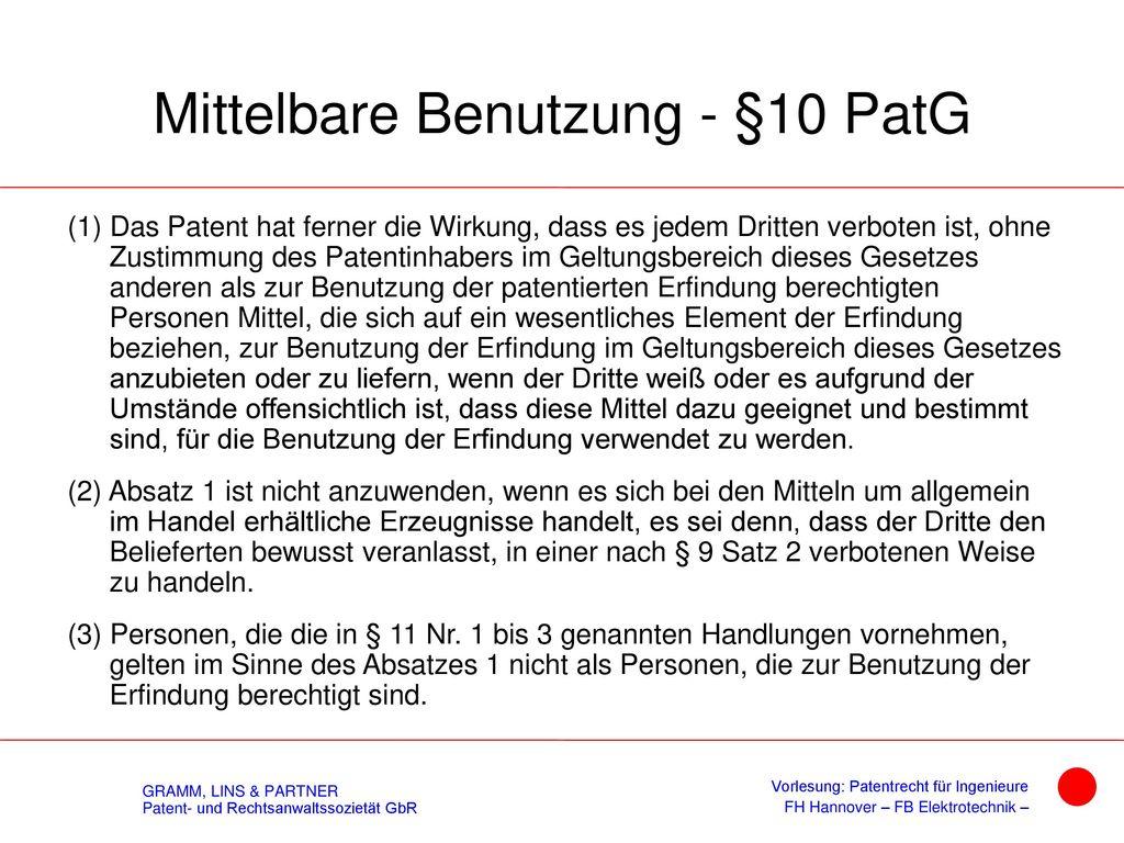 Wirkung des Patents - § 9 PatG