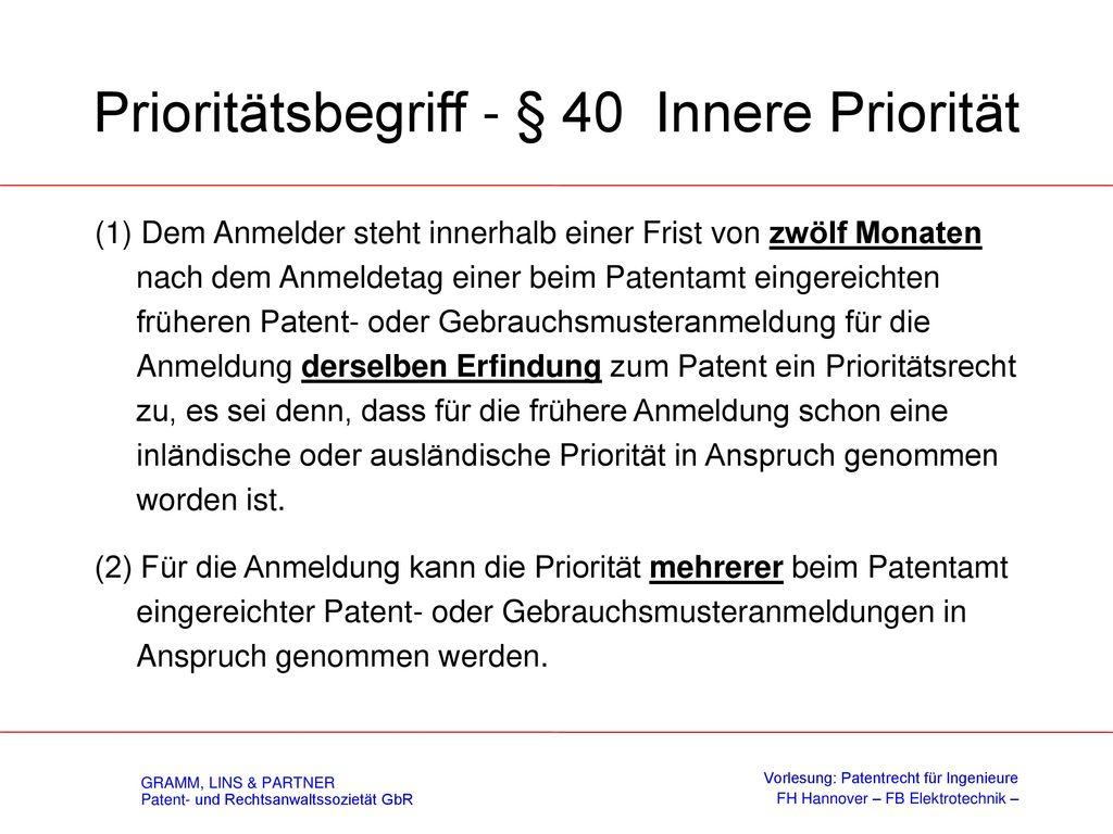 II. Patentrecht 3. Patentanmelde- / erteilungsverfahren