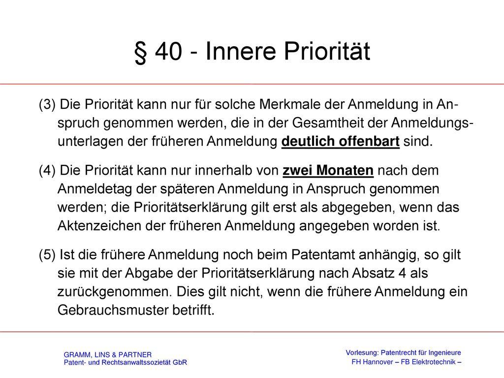 Prioritätsbegriff - § 40 Innere Priorität