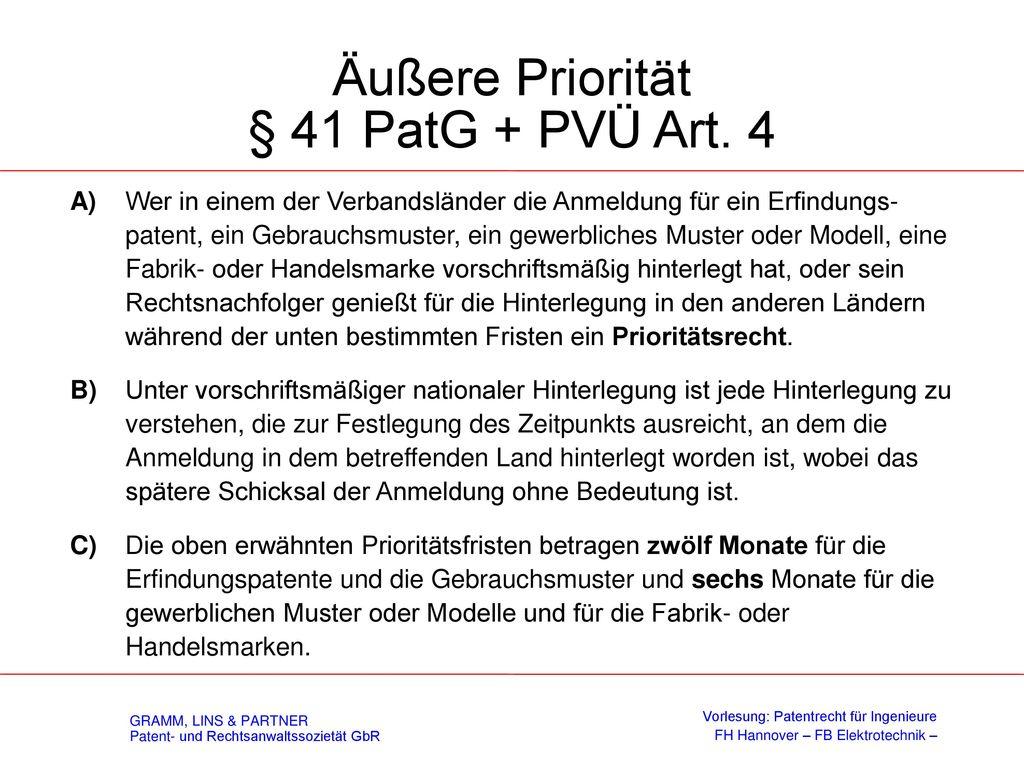 § 40 - Innere Priorität
