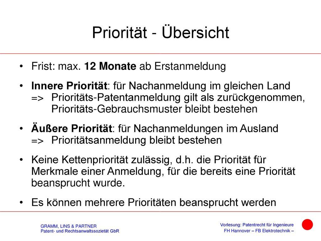 Äußere Priorität § 41 PatG + PVÜ Art. 4
