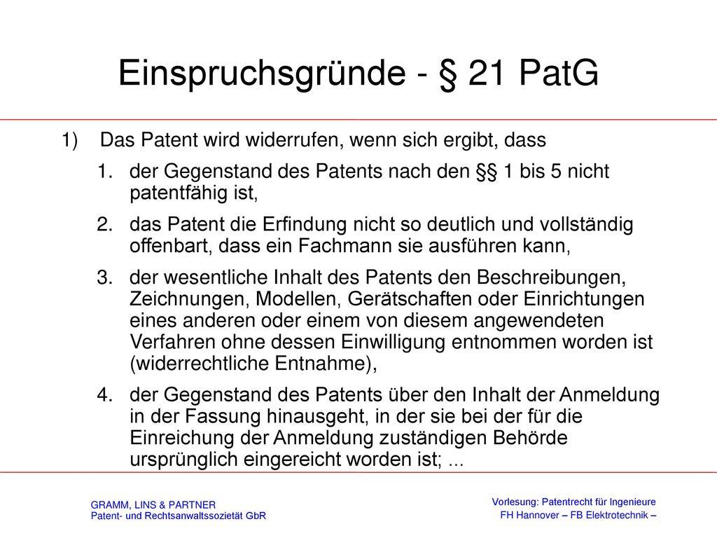 Einspruchsverfahren - § 59 PatG