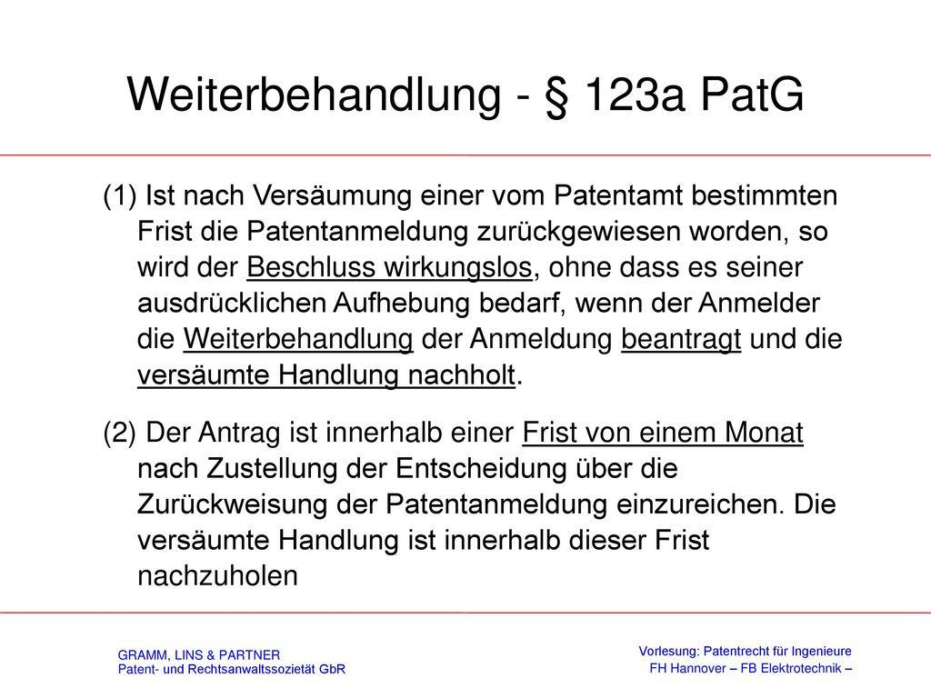 Wiedereinsetzung - § 123 PatG