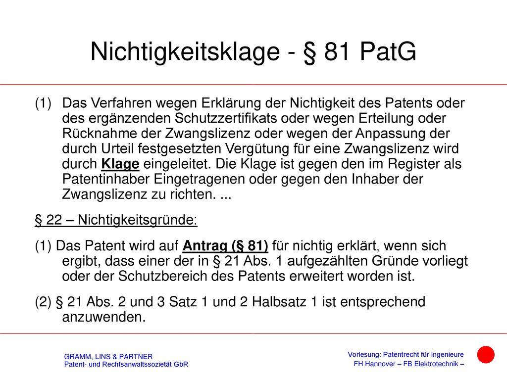 Weiterbehandlung - § 123a PatG