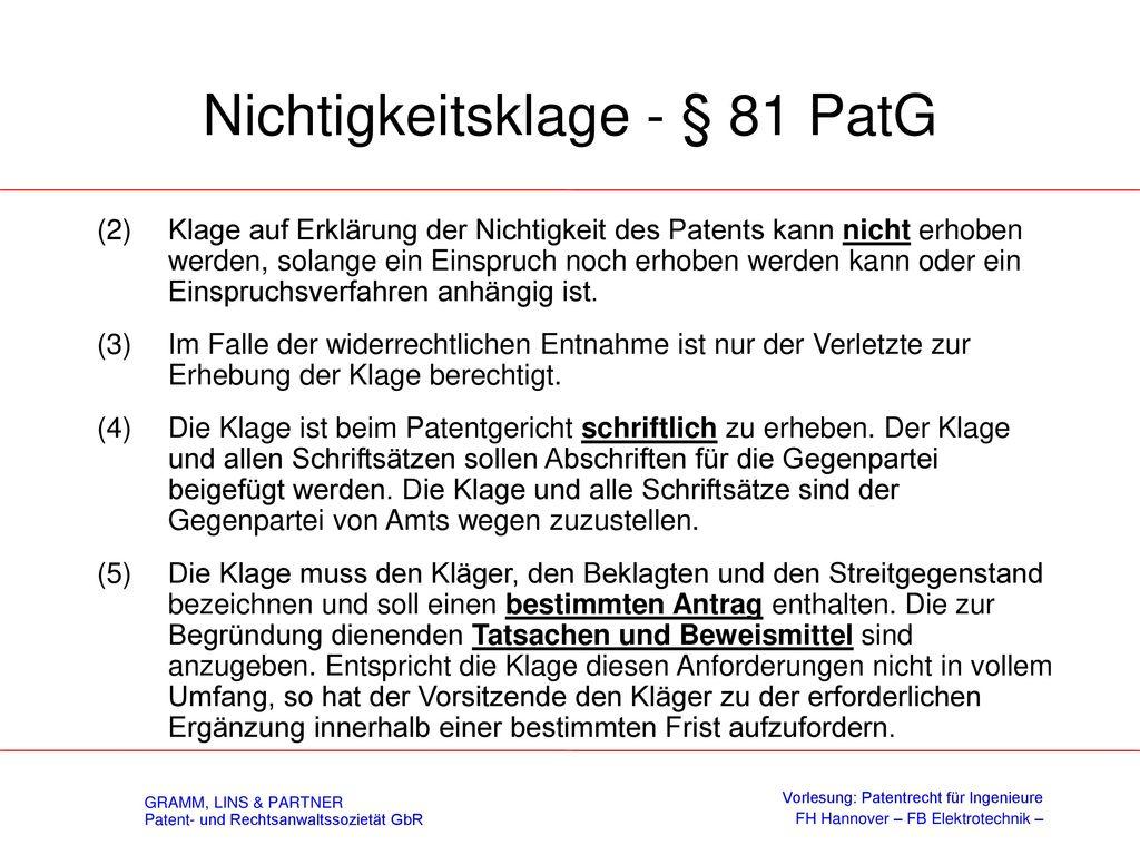 Nichtigkeitsklage - § 81 PatG