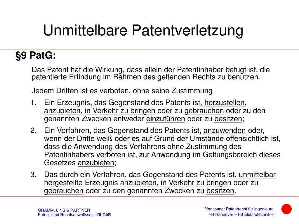 II. Patentrecht 4. Patentverletzung 4.4 Ansprüche 4.5 Beweislasten