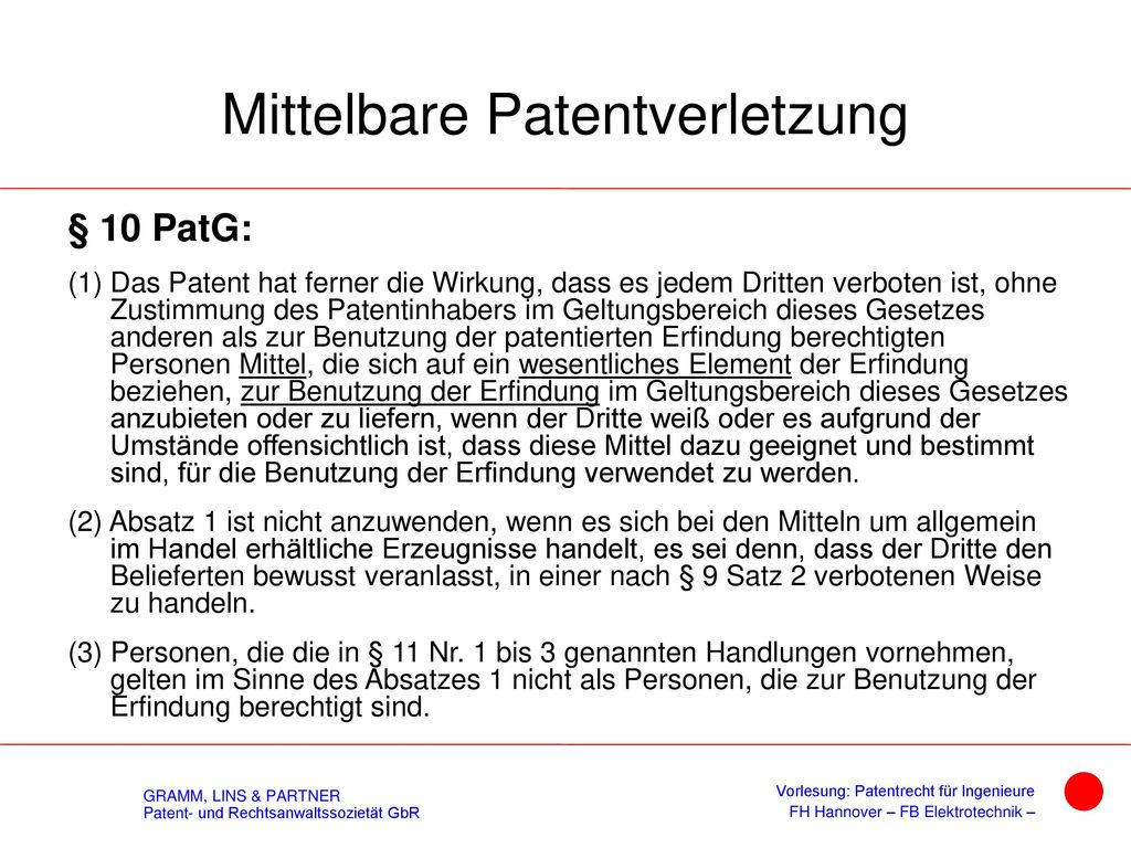 Unmittelbare Patentverletzung