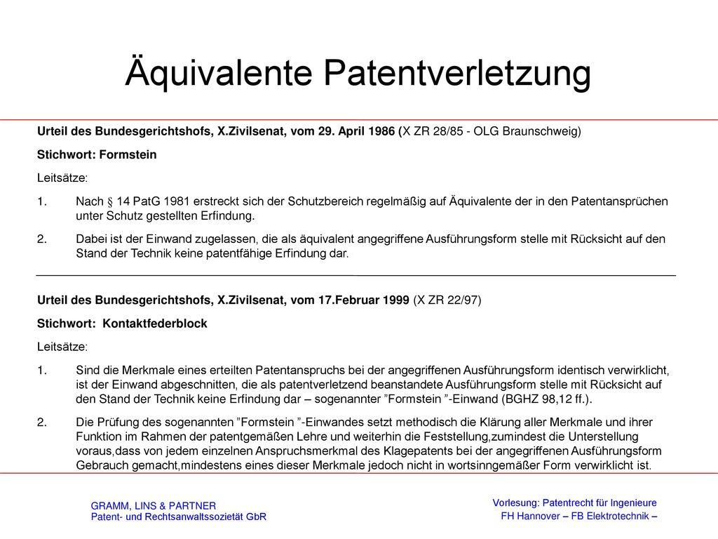 Vorbenutzungsrecht - § 12 PatG