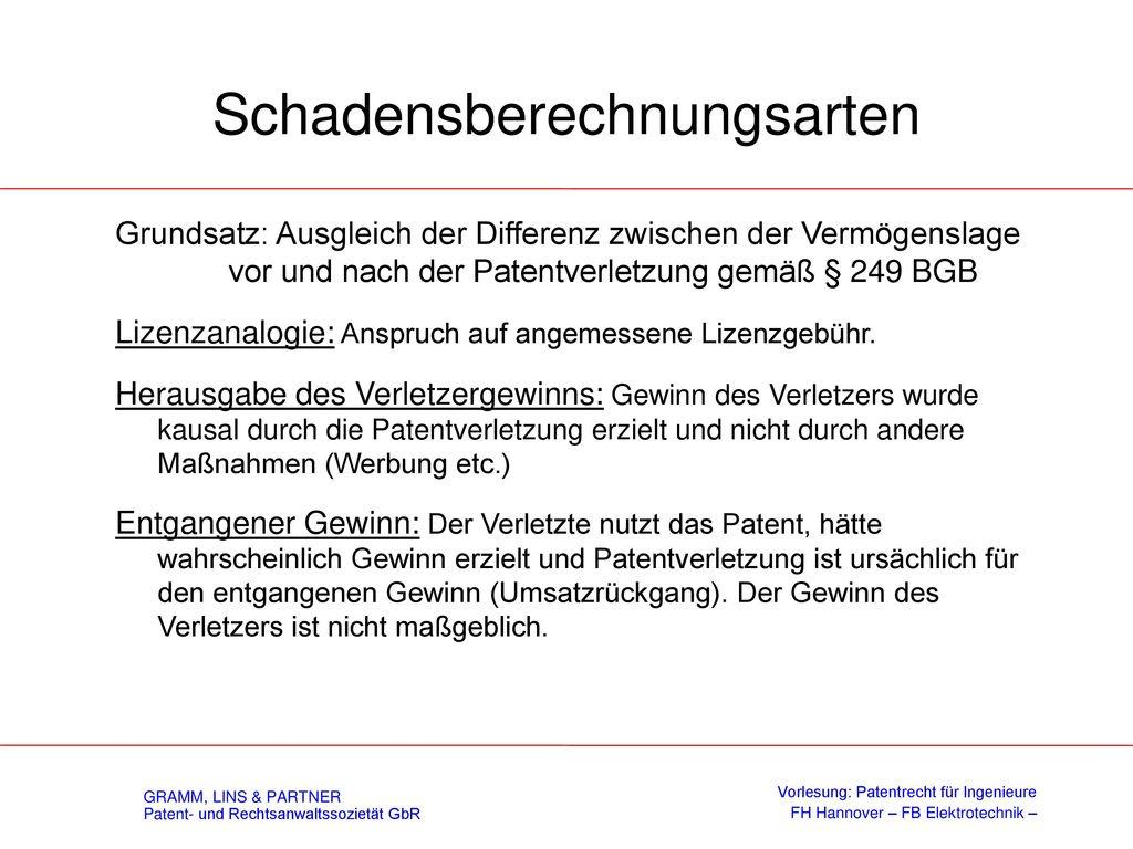 Verschulden Vorsatz: Wissen und Wollen des rechtswidrigen Erfolges, d.h. der bewußte Eingriff in das fremde Patentrecht.