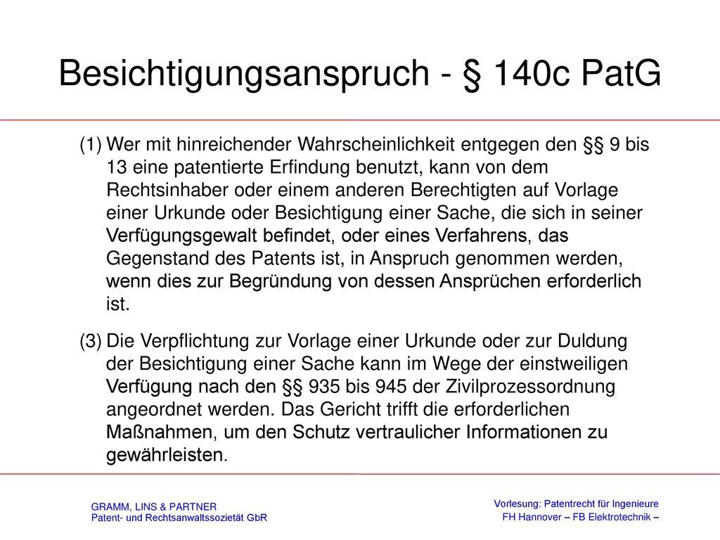 Auskunftsanspruch gemäß § 140b PatG