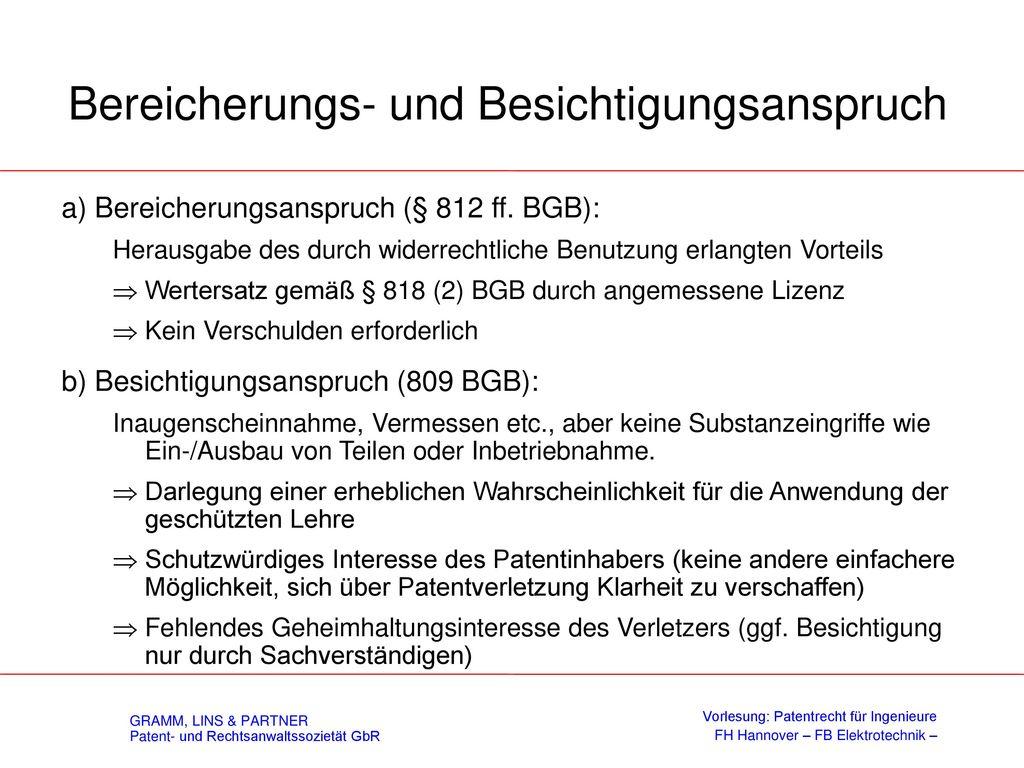 Besichtigungsanspruch - § 140c PatG