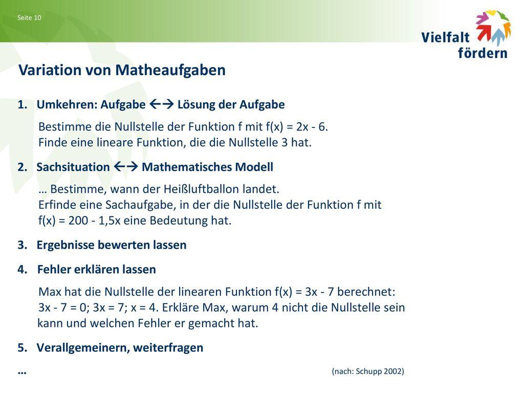 Variation von Matheaufgaben