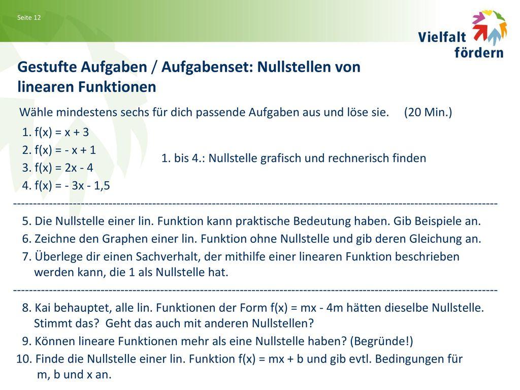 Gestufte Aufgaben / Aufgabenset: Nullstellen von linearen Funktionen