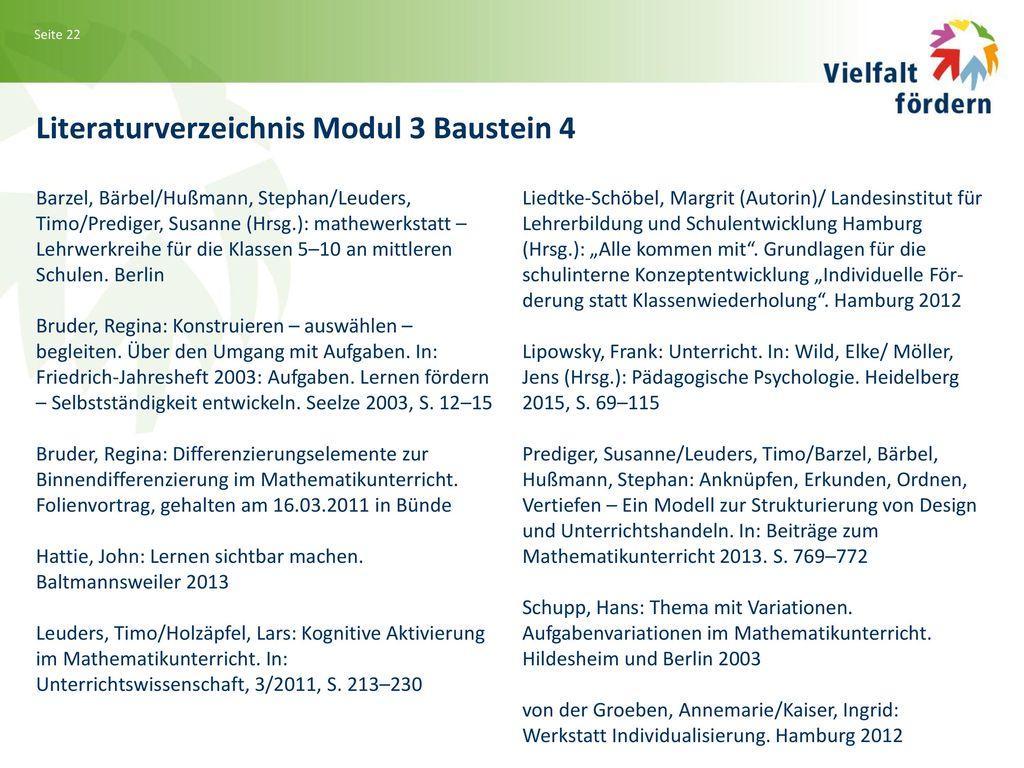 Literaturverzeichnis Modul 3 Baustein 4