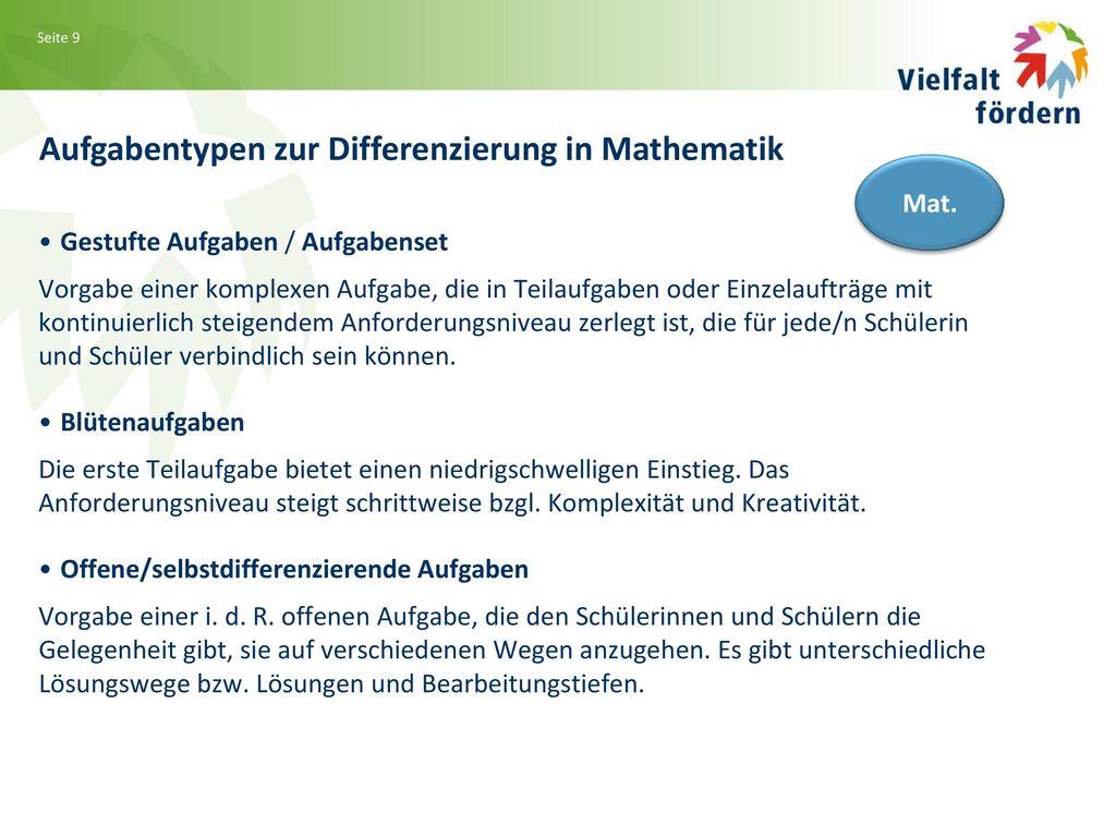 Aufgabentypen zur Differenzierung in Mathematik