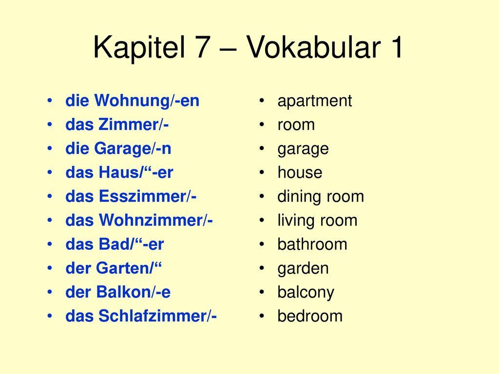 Kapitel 7 – Vokabular 1 die Wohnung/-en das Zimmer/- die Garage/-n