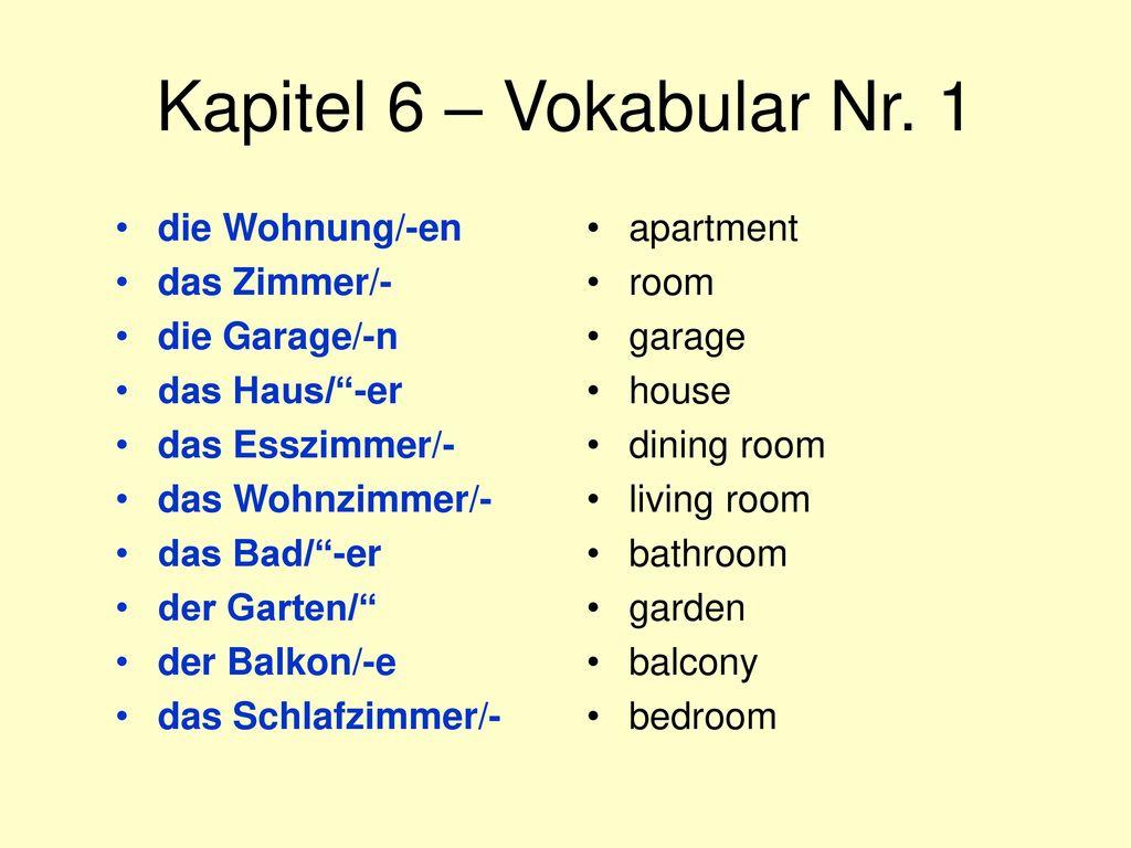 Kapitel 6 – Vokabular Nr. 1 die Wohnung/-en das Zimmer/- die Garage/-n