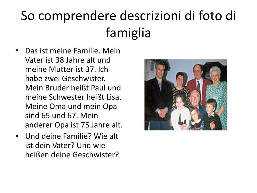 So comprendere descrizioni di foto di famiglia