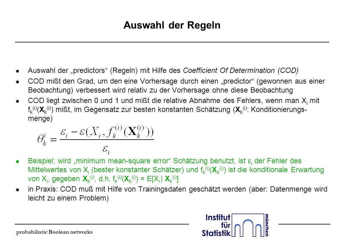 """Auswahl der Regeln Auswahl der """"predictors (Regeln) mit Hilfe des Coefficient Of Determination (COD)"""