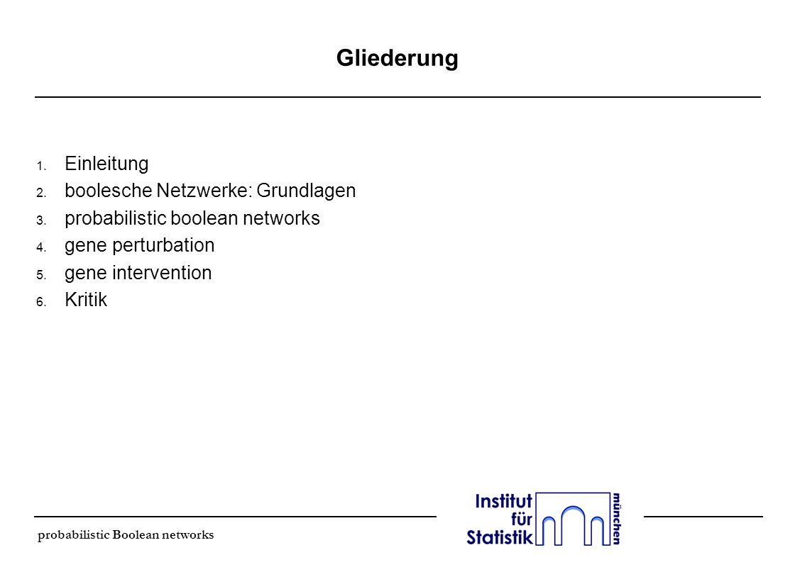 Gliederung Einleitung boolesche Netzwerke: Grundlagen