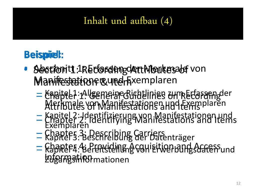 Inhalt und aufbau (4) Beispiel: