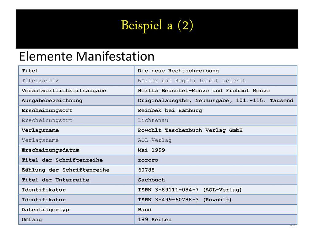 Beispiel a (2) Elemente Manifestation Titel Die neue Rechtschreibung