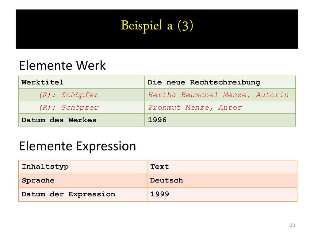 Beispiel a (3) Elemente Werk Elemente Expression Werktitel
